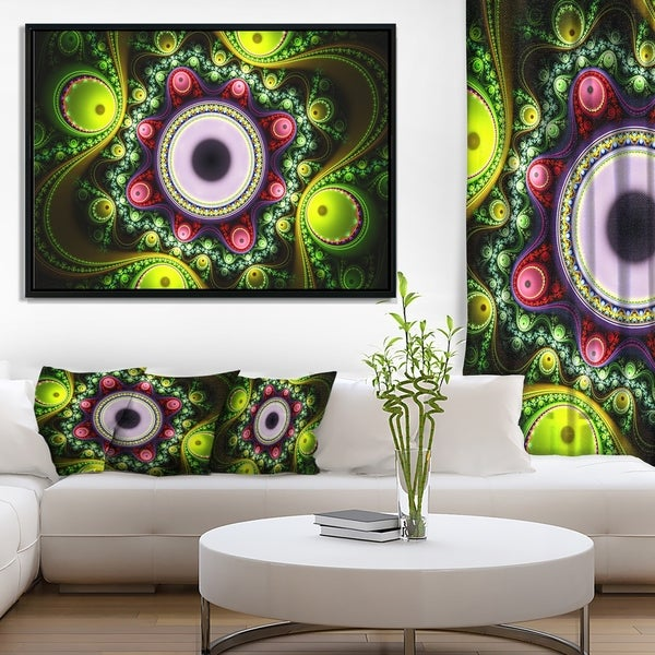 Designart 'Green on Black Pattern with Circles' Abstract Framed Canvas Art Print