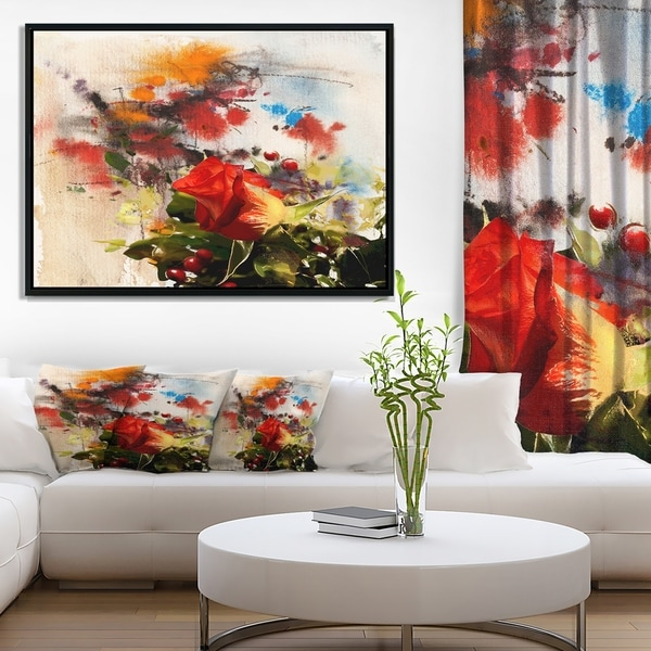 Designart 'Roses and Sunny Day Watercolor' Floral Art Framed Canvas Print