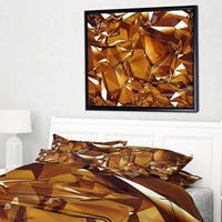 Designart '3D Gold Crystal Background' Abstract Framed Canvas Wall Art