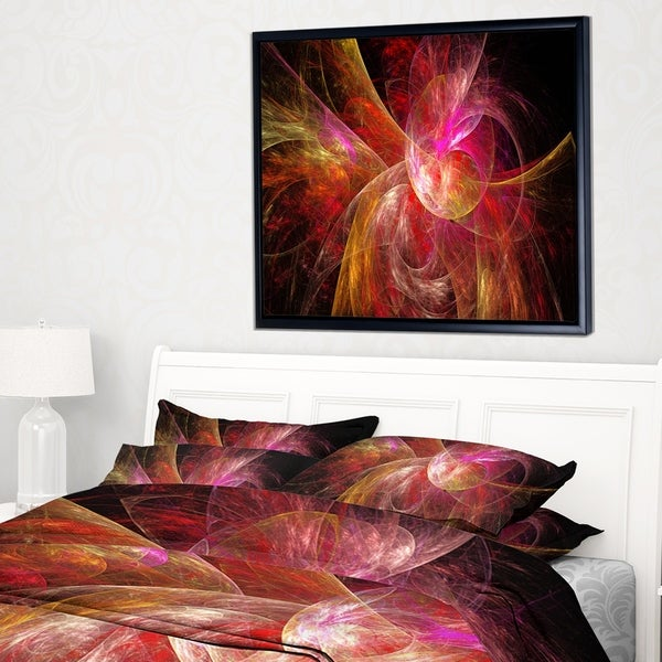 Designart 'Pink on Black Fractal Illustration' Abstract Framed Canvas Art Print