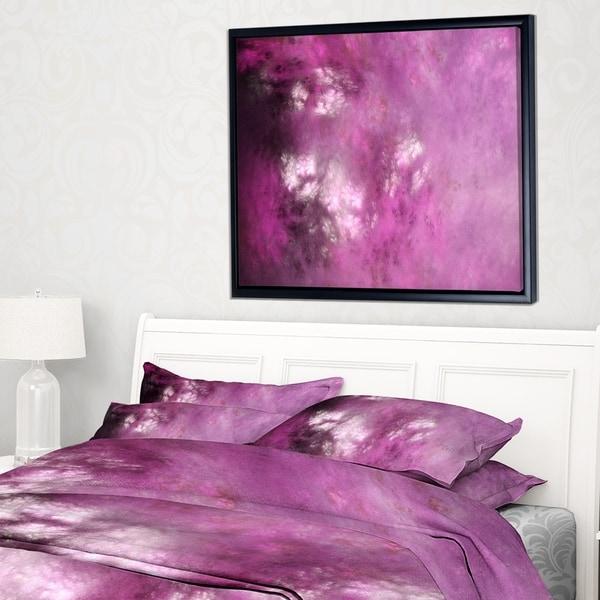 Designart 'Blur Pink Sky with Stars' Abstract Framed Canvas Art Print