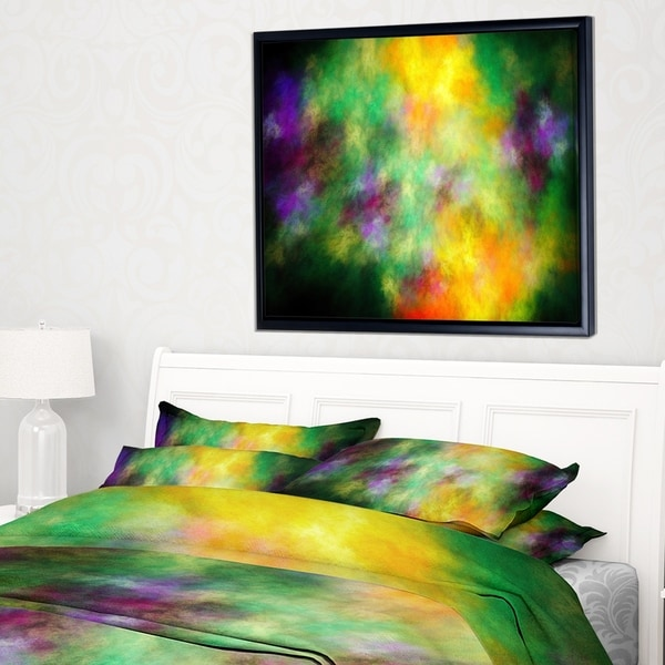 Designart 'Colorful Sky with Blur Stars' Abstract Framed Canvas Art Print