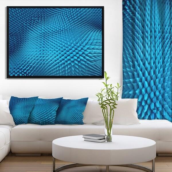 Designart 'Wavy Blue Prickly Design' Abstract Framed Canvas Art Print