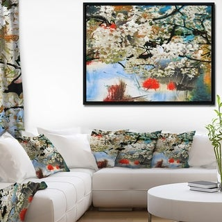 Designart 'Spring Motif with Small White Flowers' Extra Large Floral Framed Canvas Art