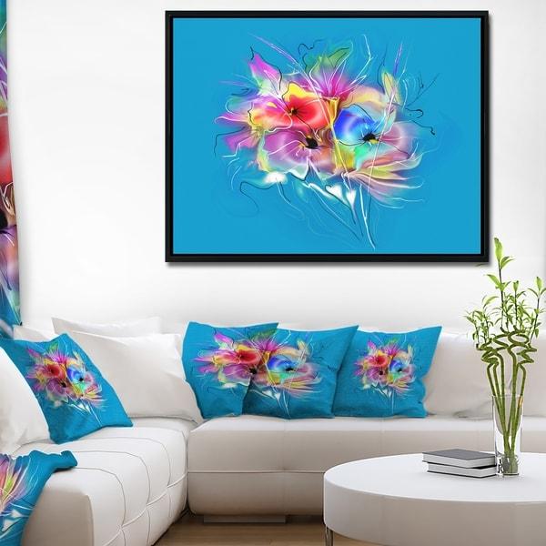 Designart 'Summer Colorful Flowers on Blue' Extra Large Floral Framed Canvas Art