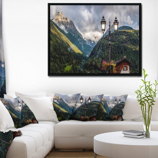 Designart 'Lamp Posts in Mountain Panorama' Landscape Framed Canvas Art Print