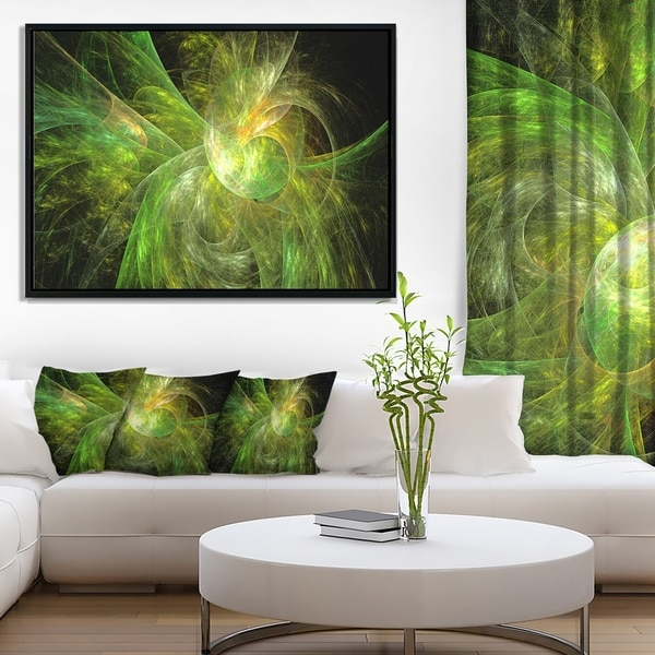 Designart 'Green on Black Fractal Illustration' Abstract Framed Canvas Art Print