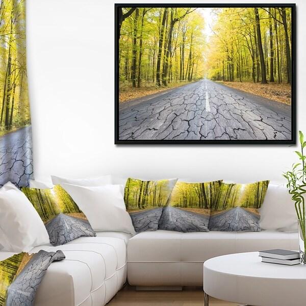 Designart 'Cracked Road in the Forest' Landscape Framed Canvas Art Print