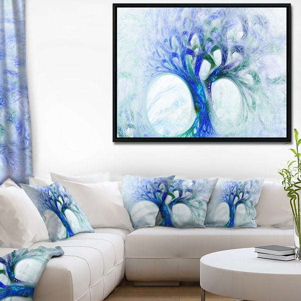 Designart 'Blue Mystic Psychedelic Tree' Abstract Wall Art Framed Canvas