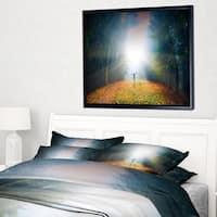 Designart 'Men and Bright Sunlight Panorama' Landscape Framed Canvas Art Print