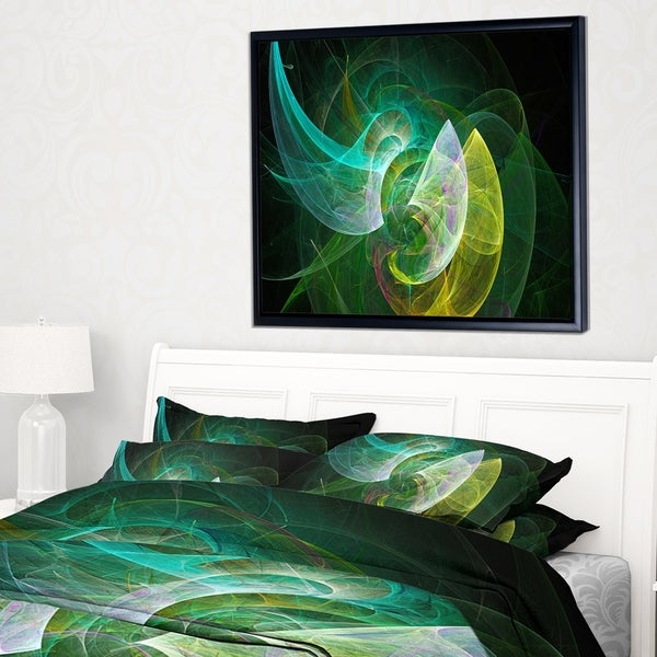 Designart 'Green Mystic Psychedelic Texture' Abstract Art on Framed Canvas