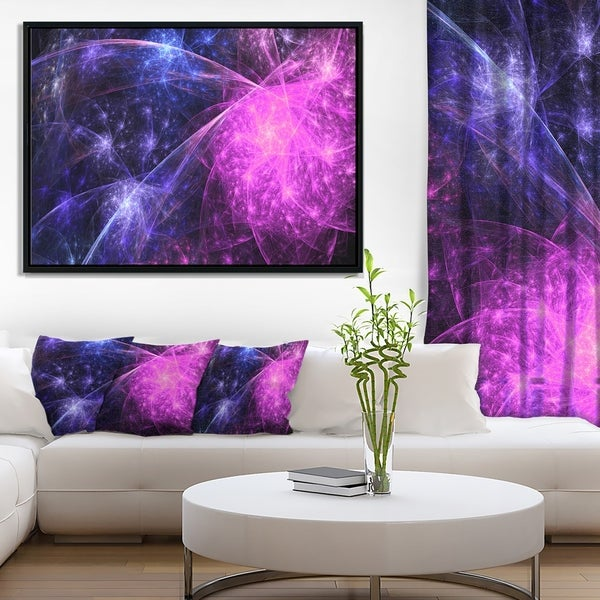 Designart 'Purple Pink Colorful Fireworks' Abstract Art on Framed Canvas