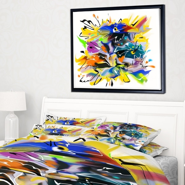 Designart 'Yellow Blue Abstract Floral Design' Extra Large Floral Framed Canvas Art