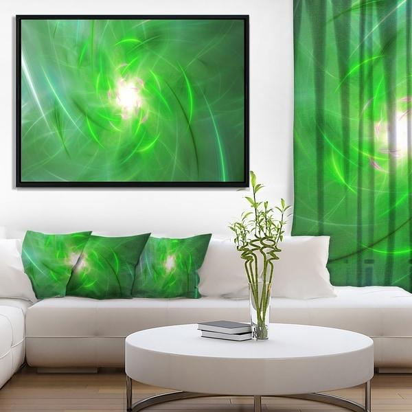 Designart 'Light Green Fractal Whirlpool' Abstract Wall Art Framed Canvas