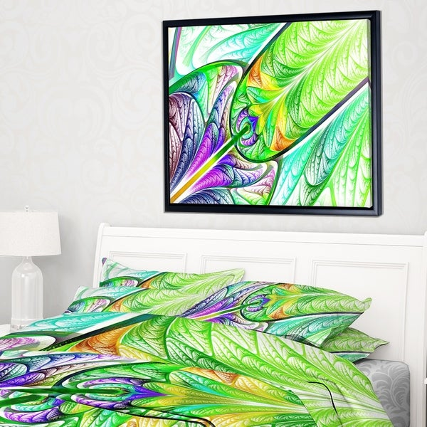 Designart 'Green Blue Fractal Stained Glass' Abstract Wall Art Framed Canvas