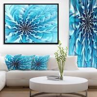 Designart 'Light Blue Fractal Flower Pattern' Abstract Wall Art Framed Canvas