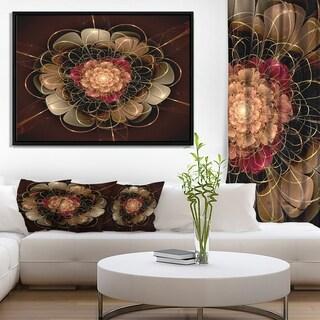 Designart 'Dark Gold Red Fractal Flower Pattern' Extra Large Floral Framed Canvas Art