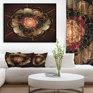 Designart 'Dark Gold Red Fractal Flower Pattern' Extra Large Floral Framed Canvas Art
