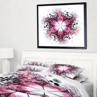 Designart 'Violet Fractal Flower Pattern' Abstract Wall Art Framed Canvas