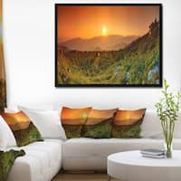 Designart 'Summer in Mountains Panorama' Abstract Wall Art Framed Canvas