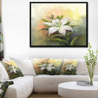 Designart 'White Lily Flower Oil Painting' Large Floral Framed Canvas Art Print