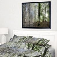 Designart 'Green Morning in Forest Panorama' Landscape Framed Canvas Art Print