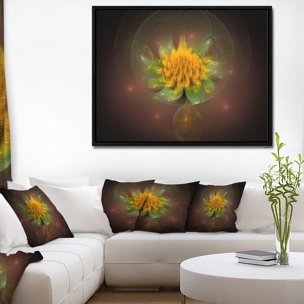 Designart 'Fractal Yellow Flower on Black' Floral Framed Canvas Art Print