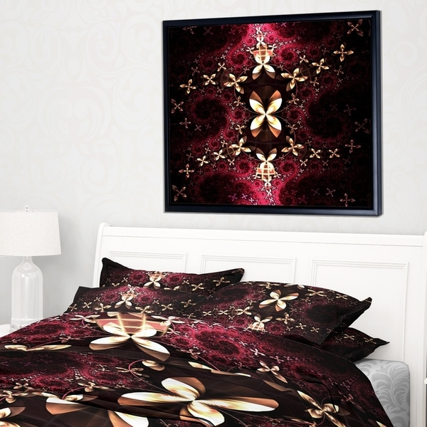 Designart 'Yellow Red Fractal Flower Pattern' Abstract Framed Canvas Art Print