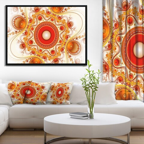 Designart 'Orange Fractal Pattern with Circles' Abstract Framed Canvas Art Print