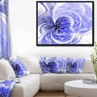 Designart 'Blue Light Fractal Flower Pattern' Abstract Framed Canvas Art Print