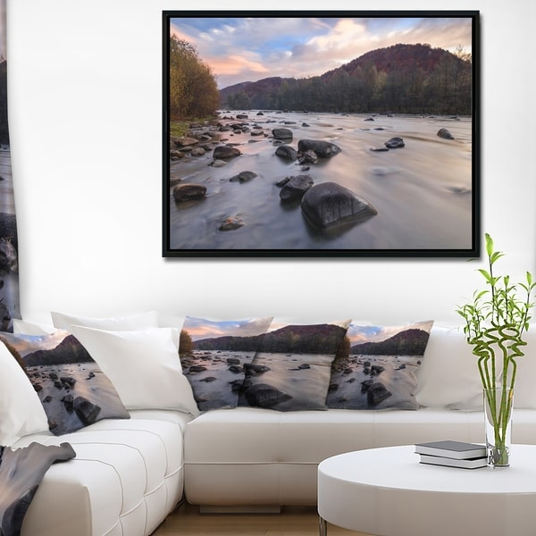 Designart 'Rocky Mountain River in Autumn' Seashore Wall Art on Framed Canvas