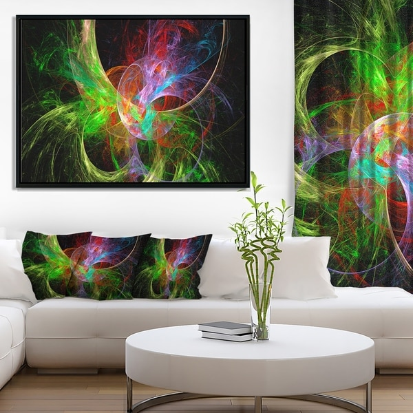 Designart 'Multi Color Fractal Abstract Design' Abstract Framed Canvas Art Print
