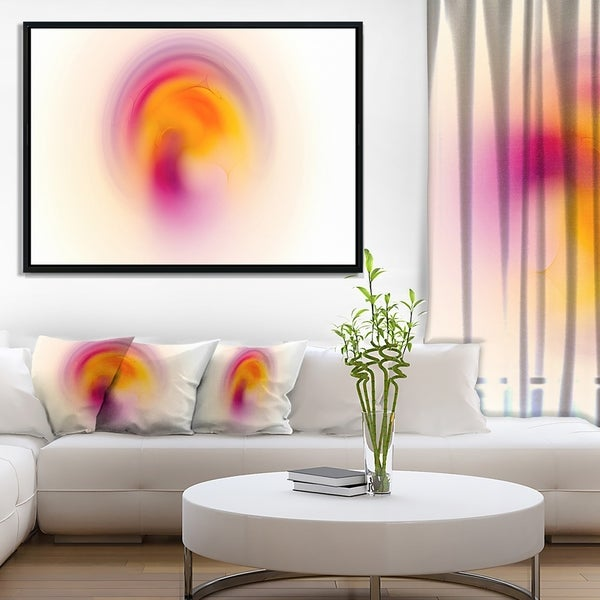 Designart 'Pink Yellow Luminous Misty Sphere' Abstract Framed Canvas Art Print