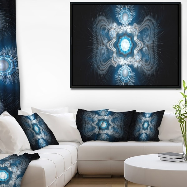 Designart 'Cabalistic Clear Blue Texture' Abstract Framed Canvas Art Print
