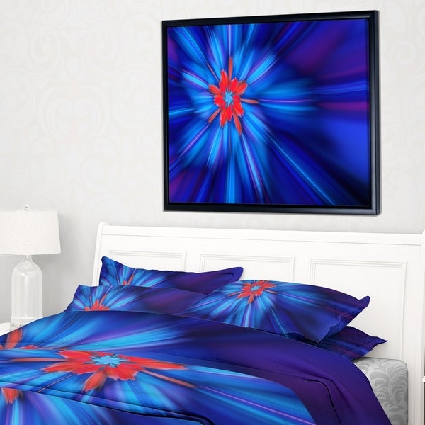 Designart 'Rotating Fractal Blue Fireworks' Floral Framed Canvas Art Print