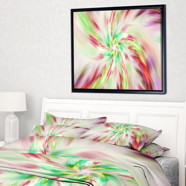 Designart 'Exotic Multi Color Spiral Flower' Abstract Framed Canvas Art Print