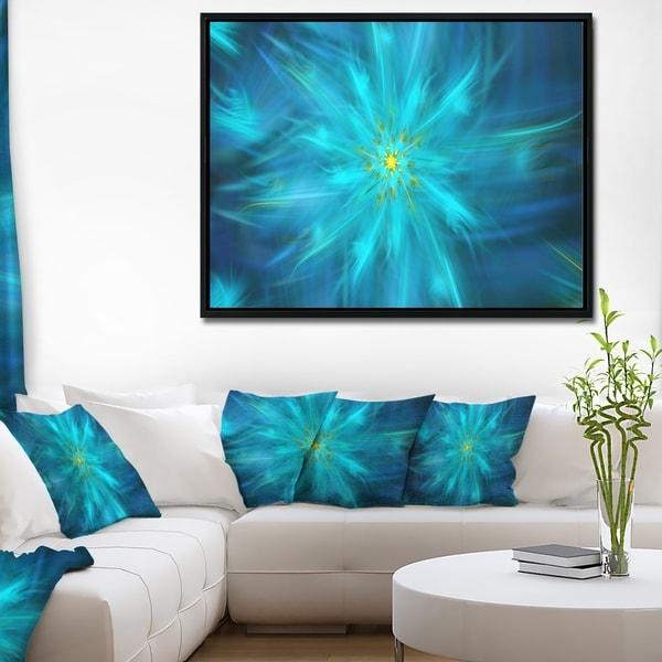 Designart 'Amazing Dance of Blue Petals' Floral Framed Canvas Art Print