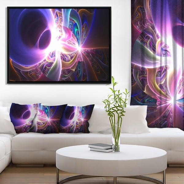 Designart 'Glowing Purple Design on Black' Abstract Wall Art Framed Canvas