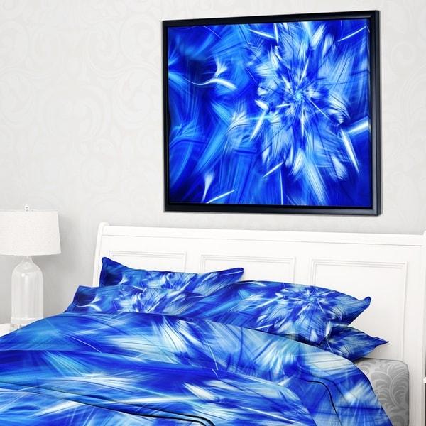 Designart 'Rotating Bright Blue Fireworks' Floral Framed Canvas Art Print