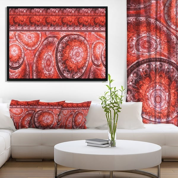 Designart 'Red Living Cells Fractal Design' Abstract Framed Canvas Art Print