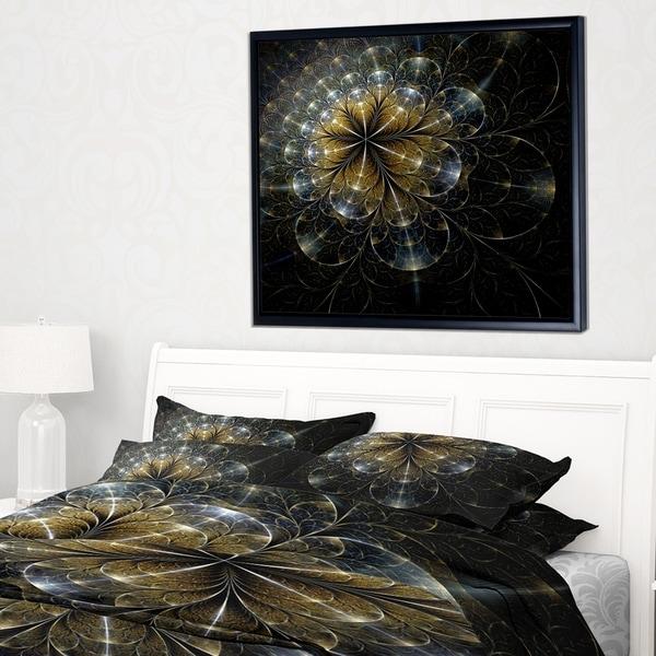 Designart 'Large Mystic Golden Fractal Flower' Floral Framed Canvas Art Print