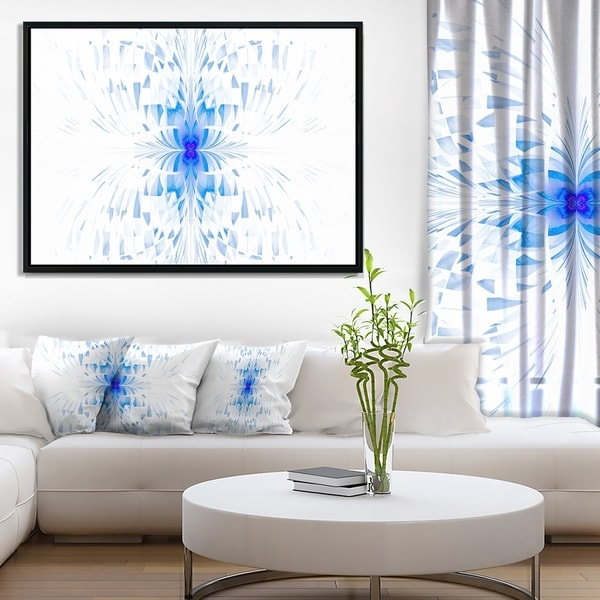 Designart 'Blue Butterfly Outline on White' Abstract Wall Art Framed Canvas