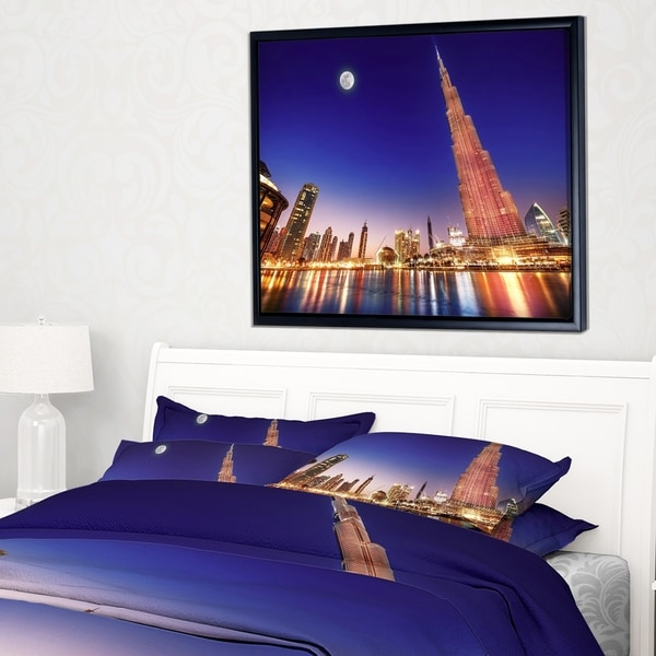 Designart 'Burj Khalifa Night Landscape' Cityscape Framed Canvas Art Print