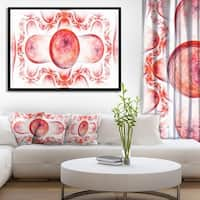 Designart 'Red Exotic Pattern on White' Abstract Art on Framed Canvas