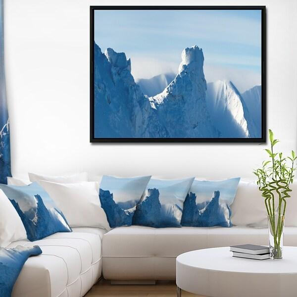 Designart 'Blue Winter Hills Panorama' Landscape Framed Canvas Art Print