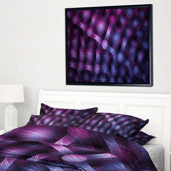 Designart 'Crystal Cell Purple Steel Texture' Abstract Wall Art Framed Canvas