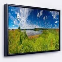 Designart 'Ideal Summer Meadow Panorama' Landscape Framed Canvas Art Print