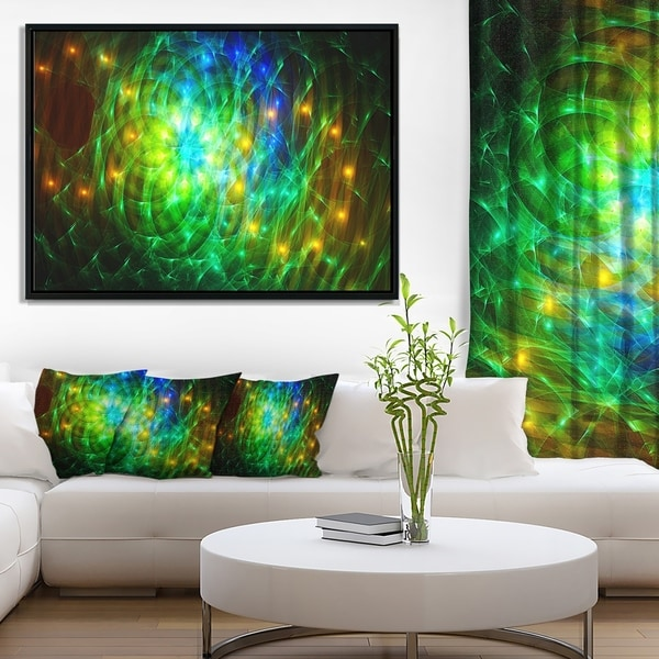 Designart 'Green Fractal Symphony of Colors' Abstract Wall Art Framed Canvas