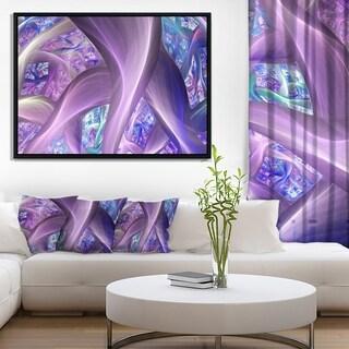Designart 'Purple Blue Fractal Curves' Abstract Framed Canvas Art Print