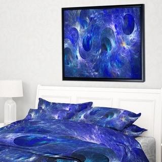Designart 'Clear Blue Fractal Glass Texture' Abstract Framed Canvas Art Print